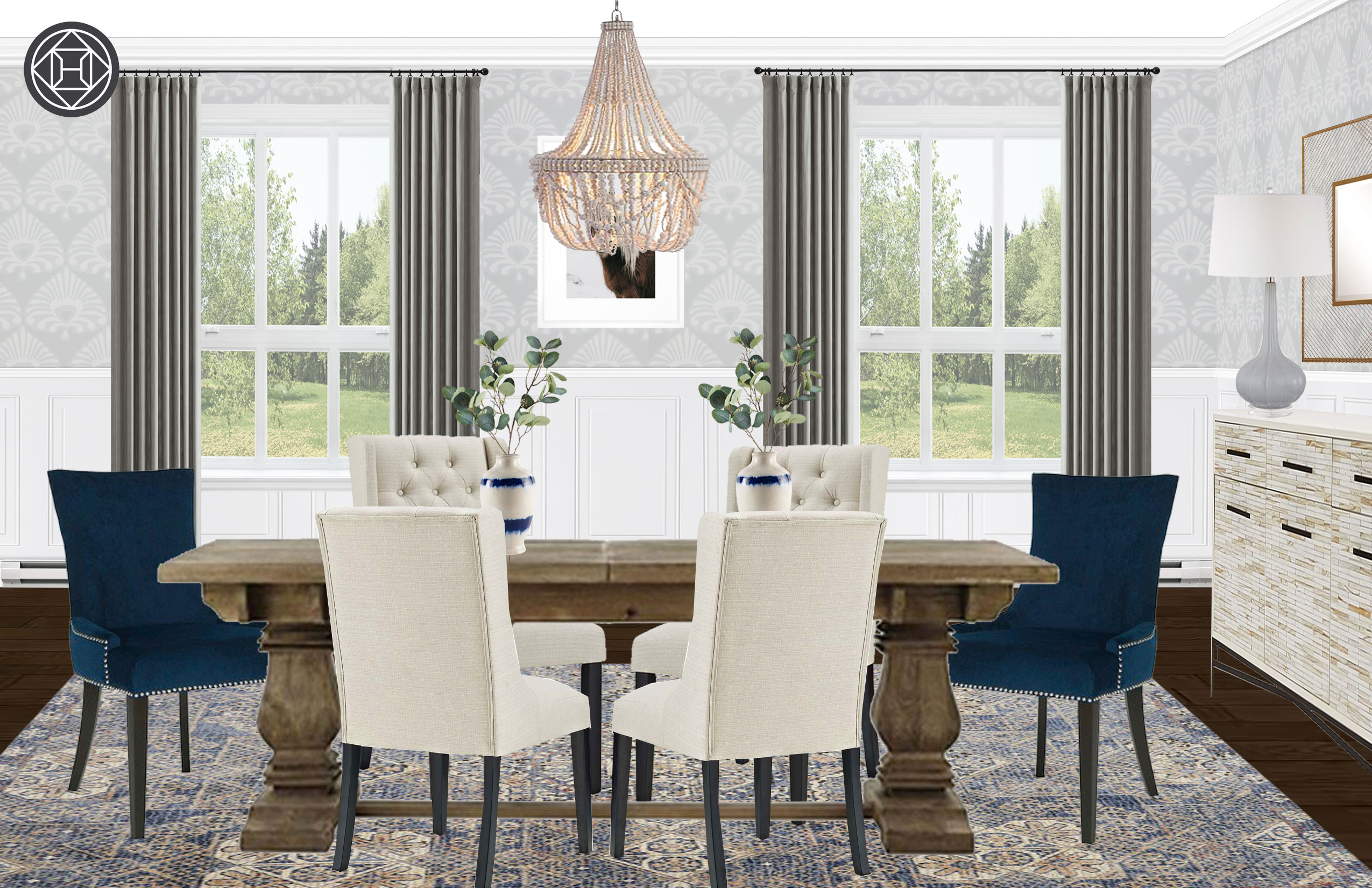 Eclectic, Transitional Dining Room Design by Havenly ...
