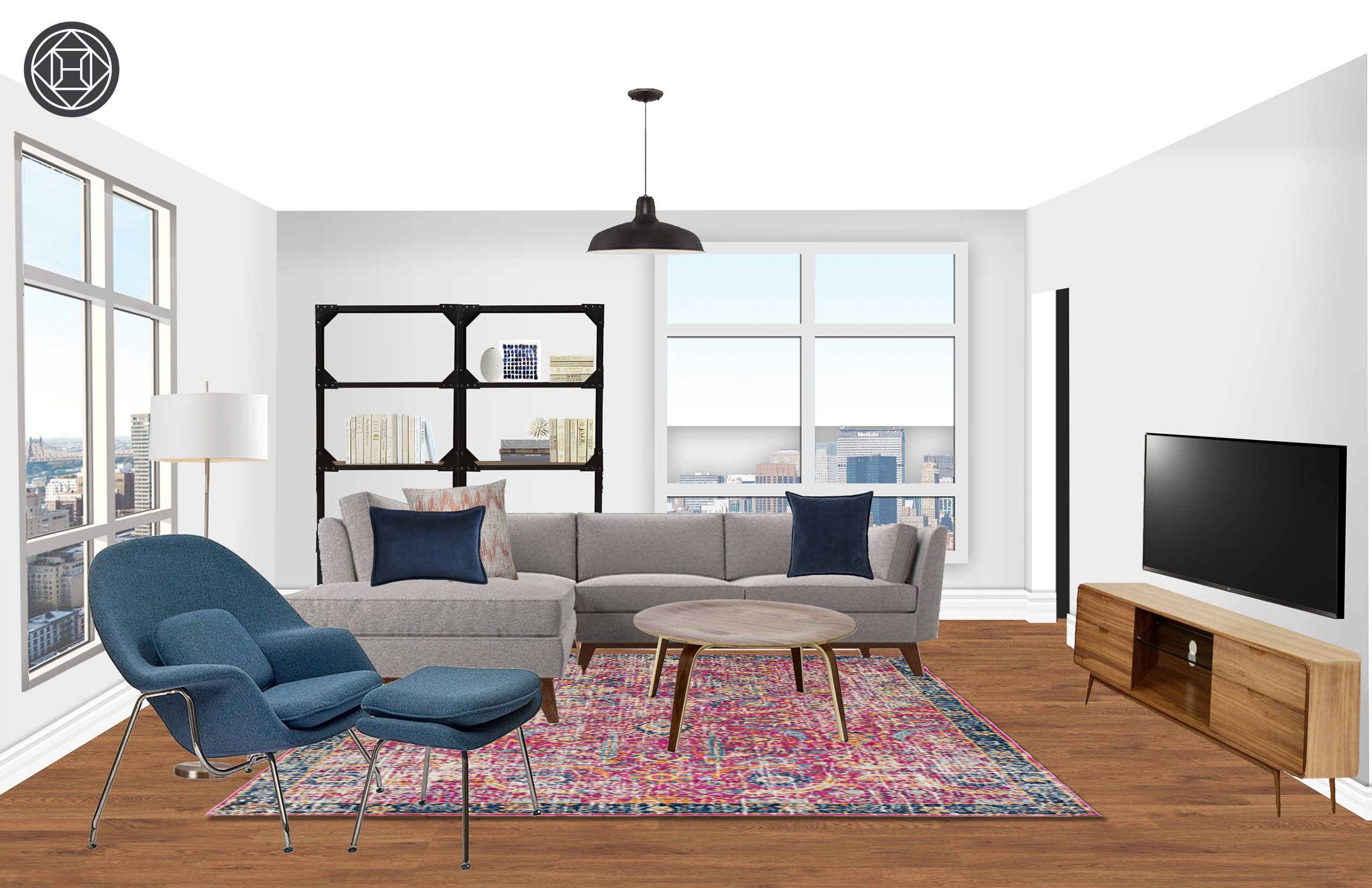 Eclectic Midcentury Modern Minimal Living Room Design By