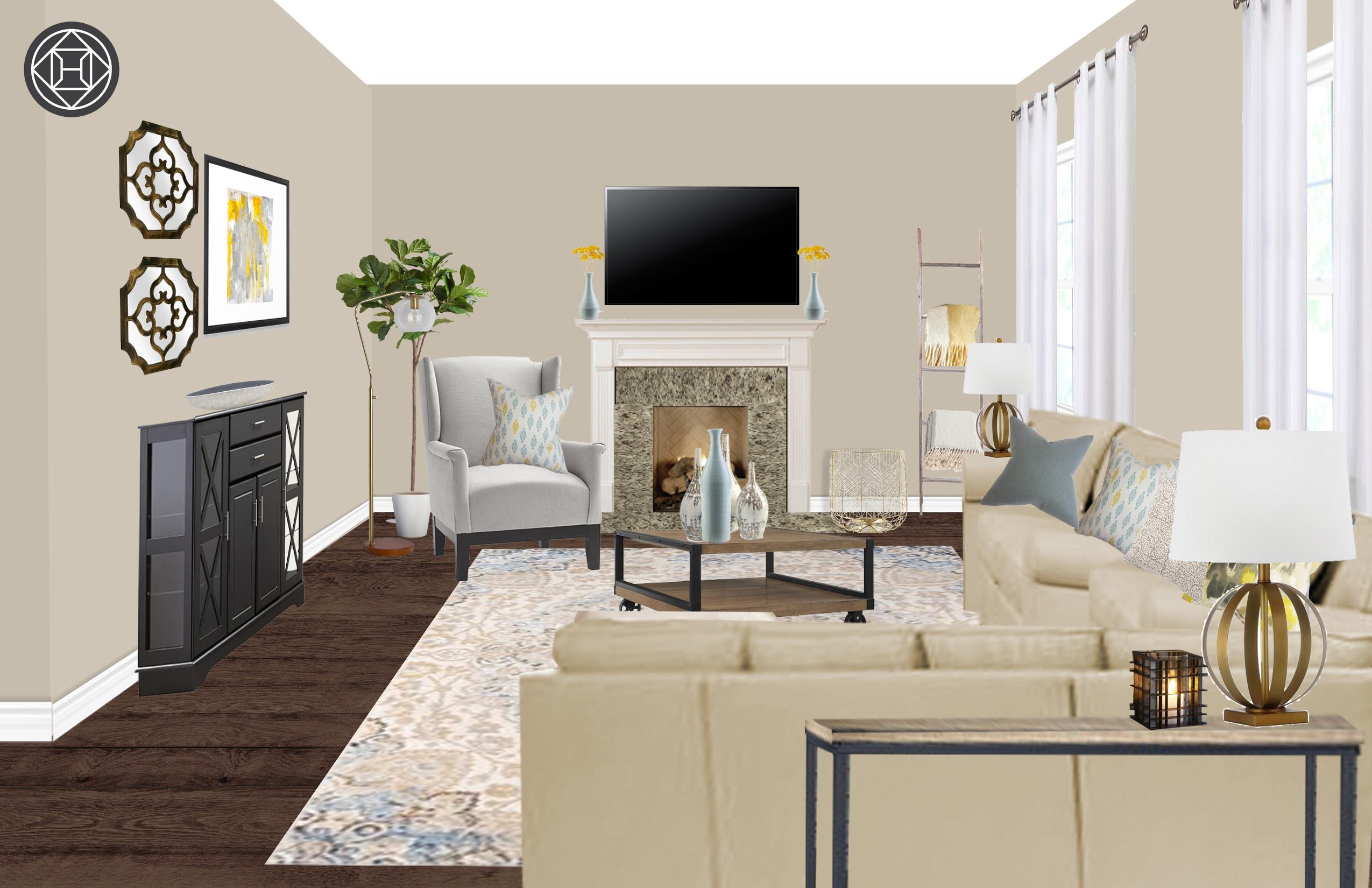 Contemporary Living Room Design By Havenly Interior Designer Sarah