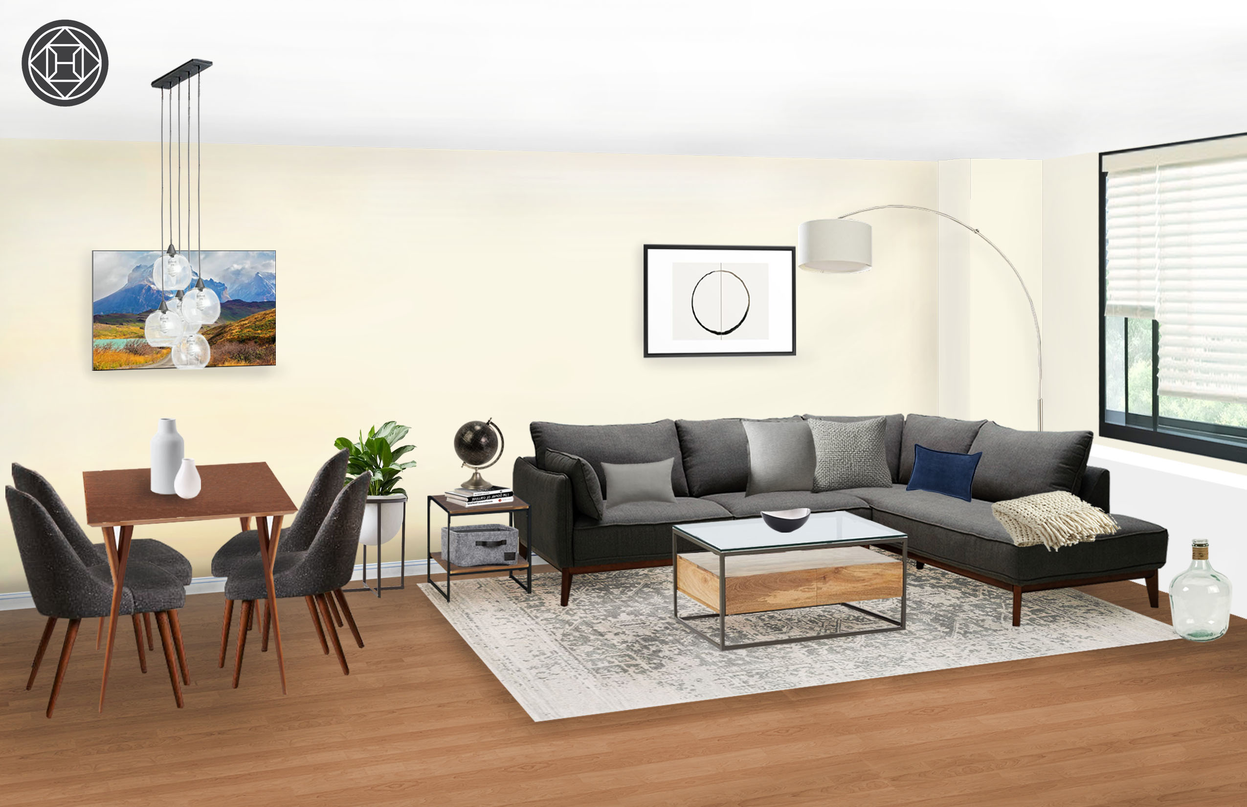 Modern Industrial Midcentury Scandinavian Living Room