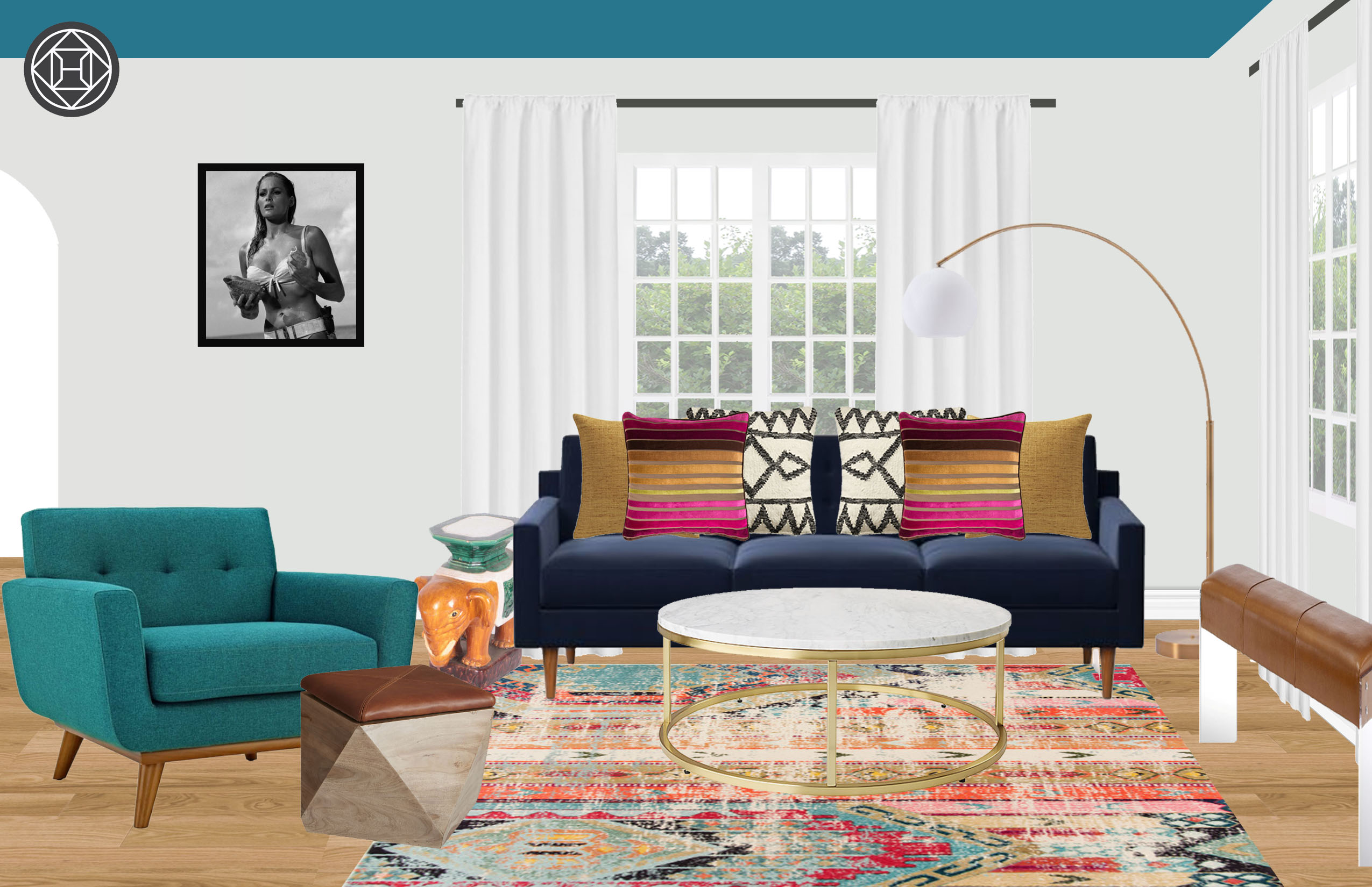 Modern Bohemian Midcentury Modern Living Room Design By