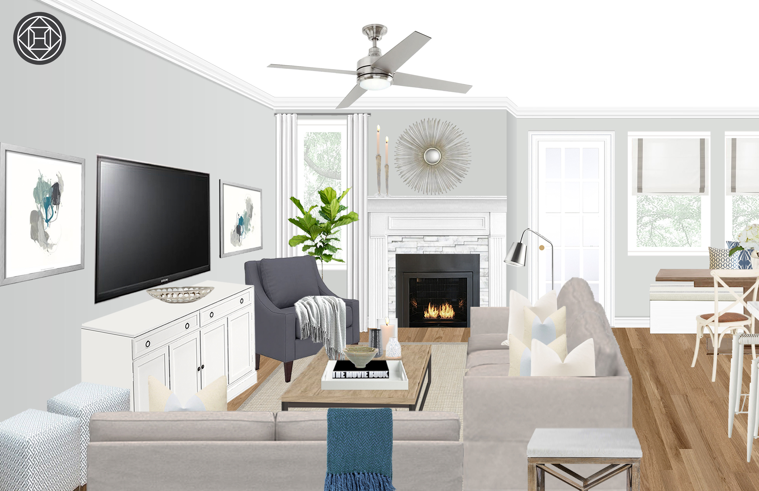 Farmhouse Transitional Living Room Design By Havenly