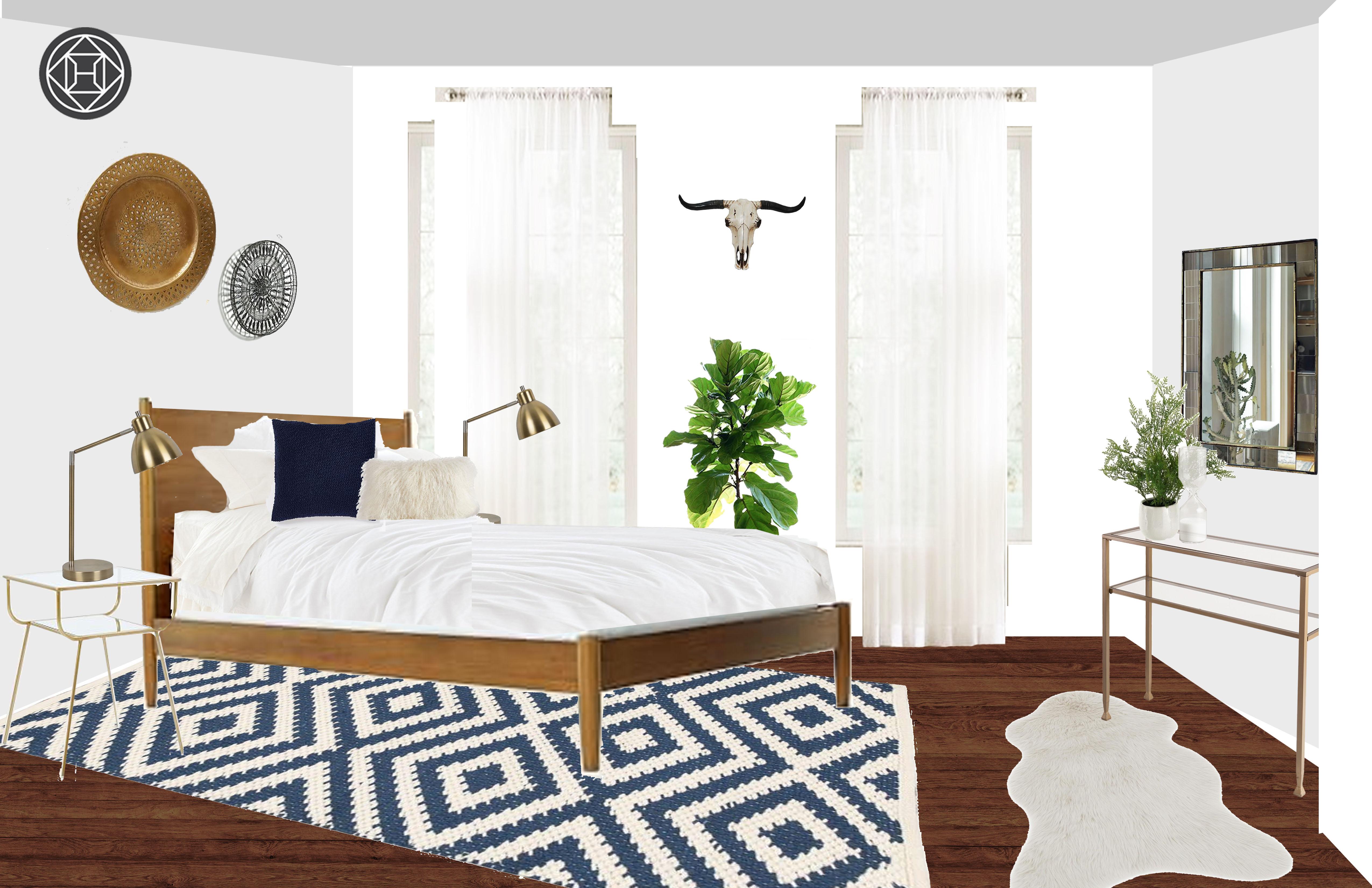 Bohemian Midcentury Modern Scandinavian Bedroom Design by Havenly