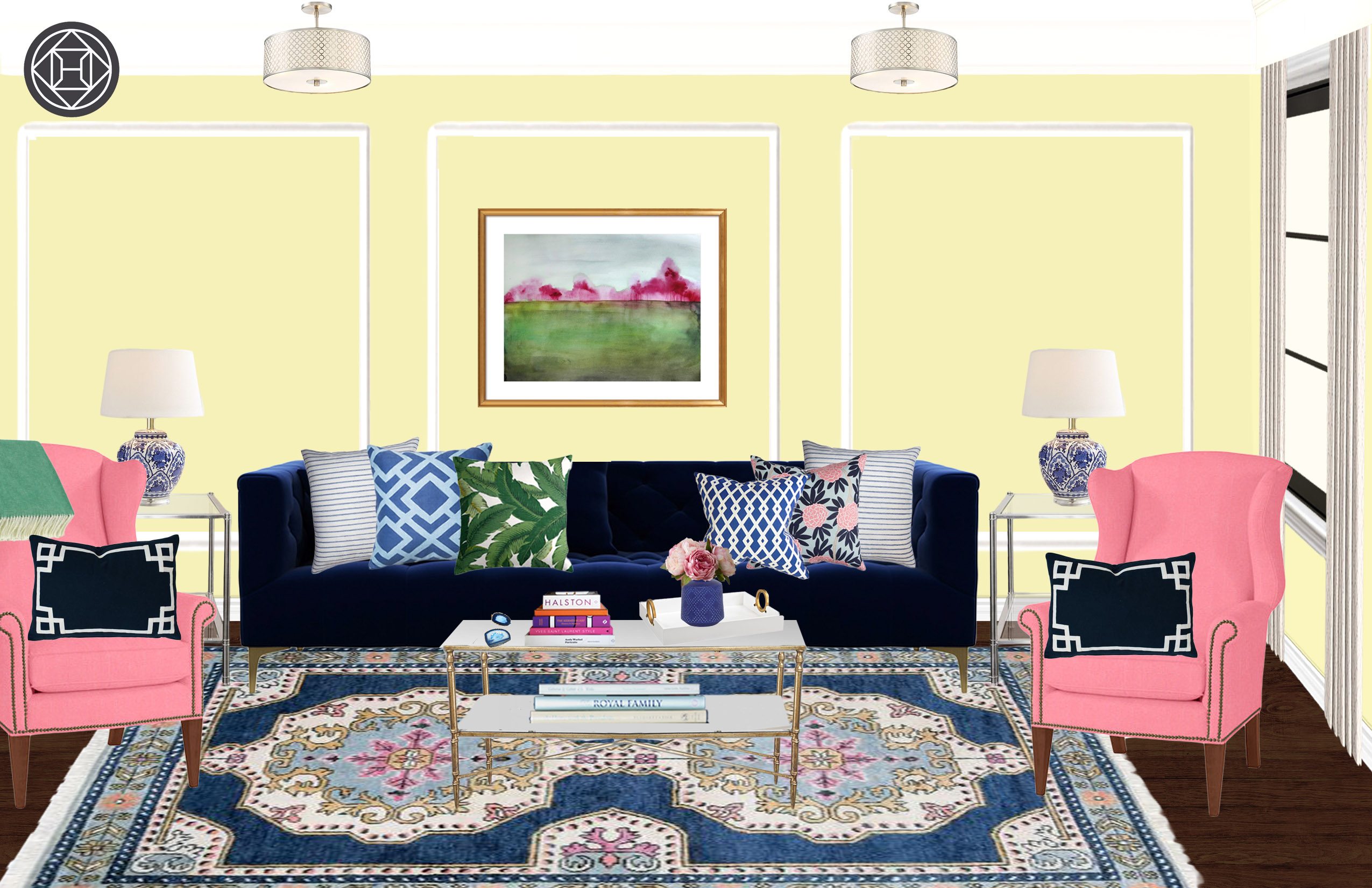 Preppy Living Room Design by Havenly Interior Designer by Erin