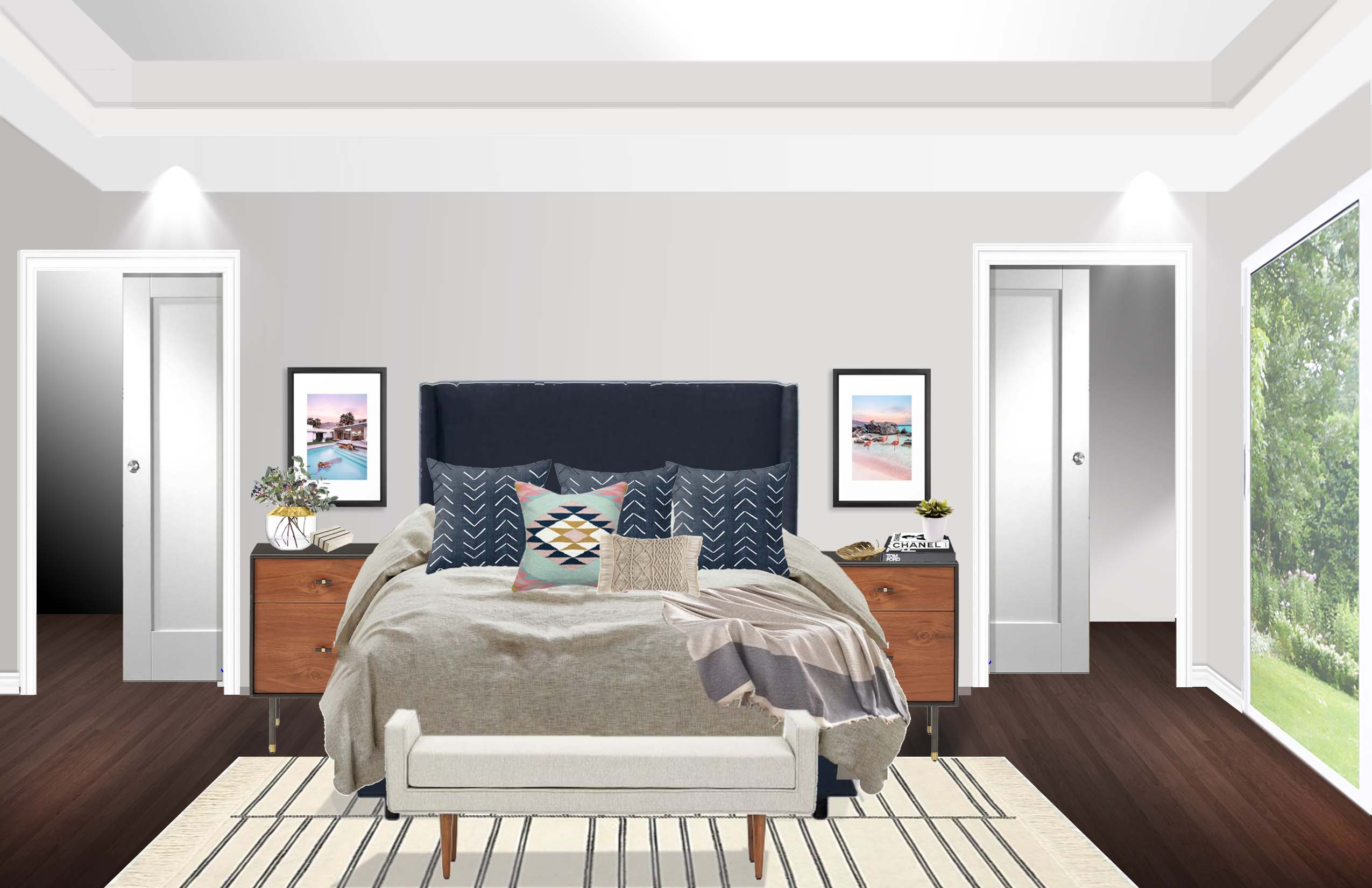 Contemporary Midcentury Modern Bedroom Design By Havenly