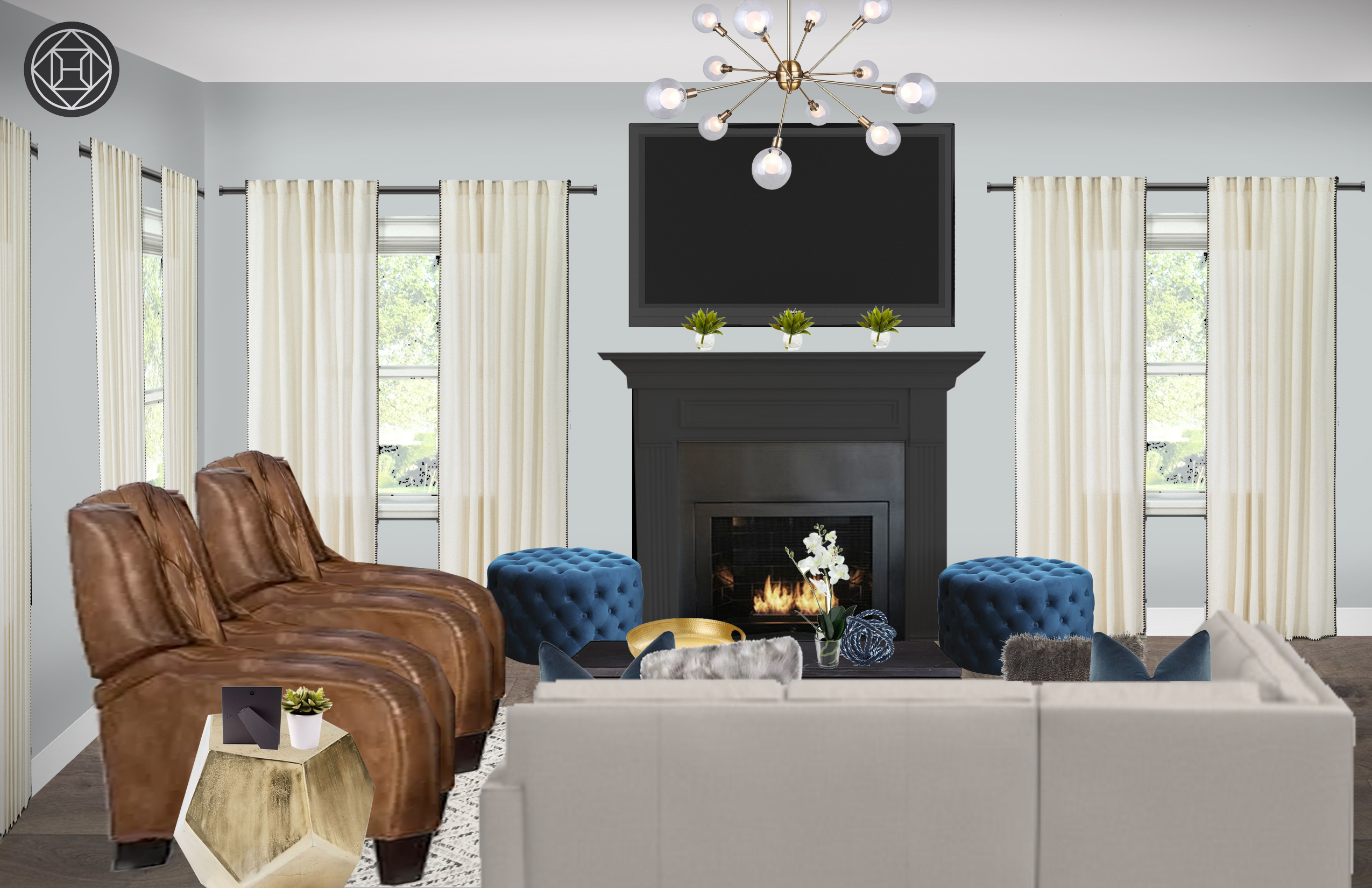 Contemporary Transitional Living Room Design By Havenly