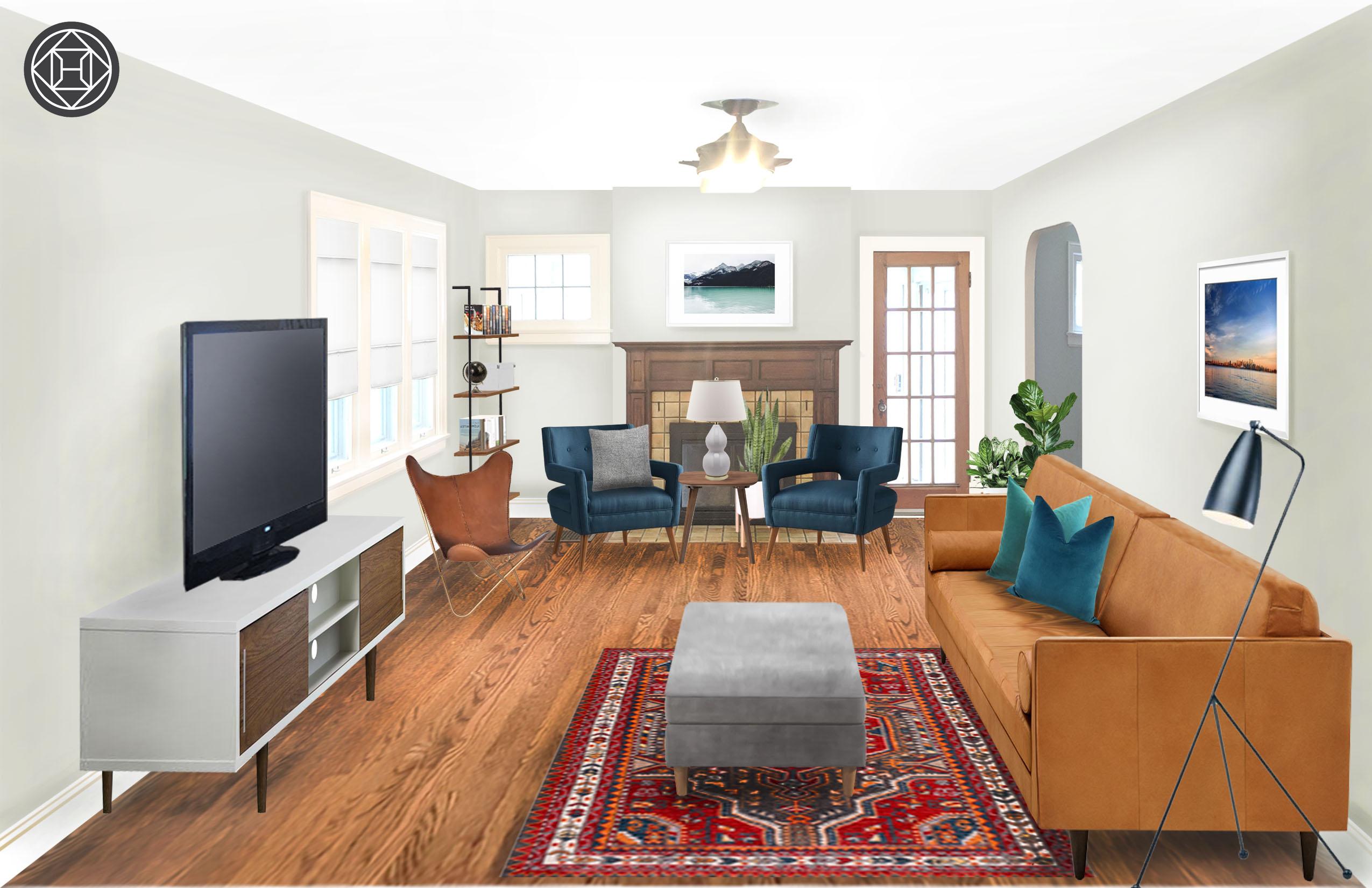 Modern Industrial Midcentury Living Room Design By Havenly