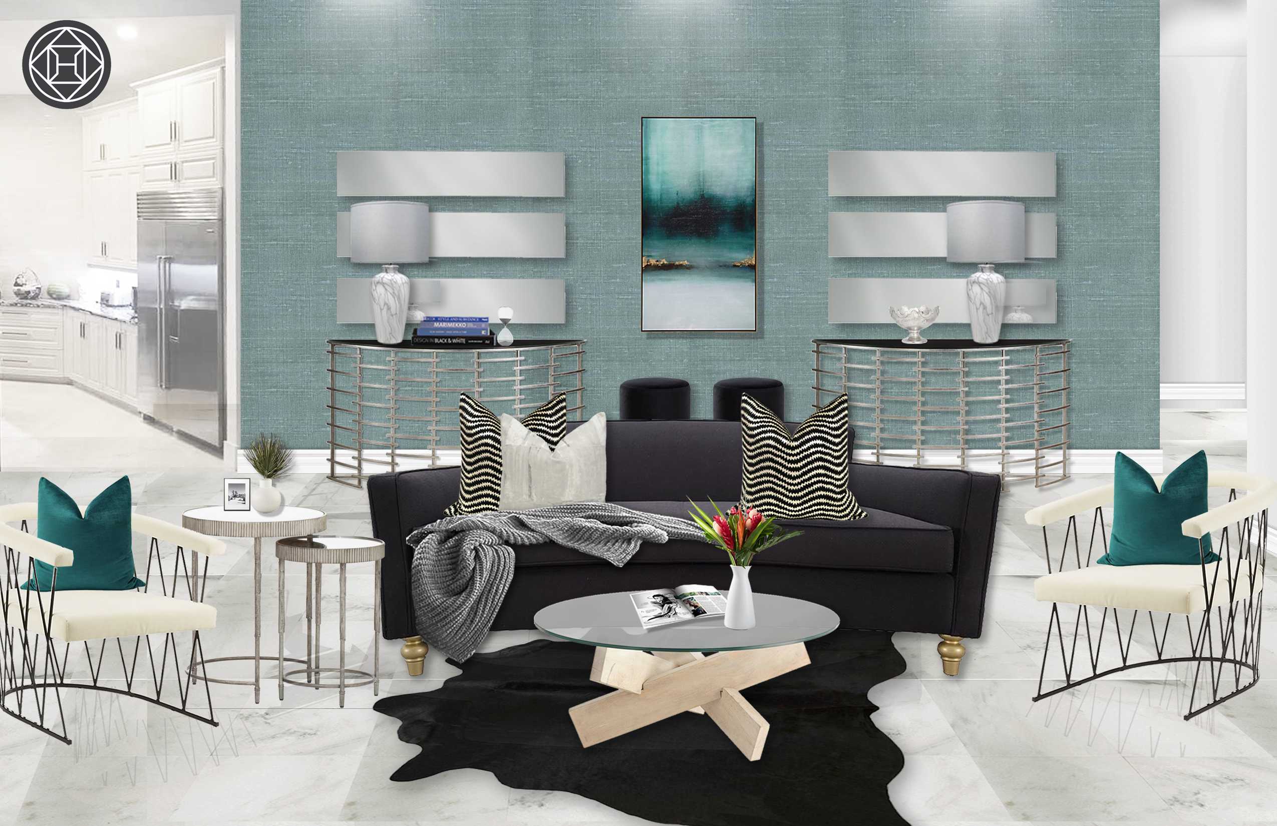 Modern Eclectic Glam Living Room Design By Havenly Interior