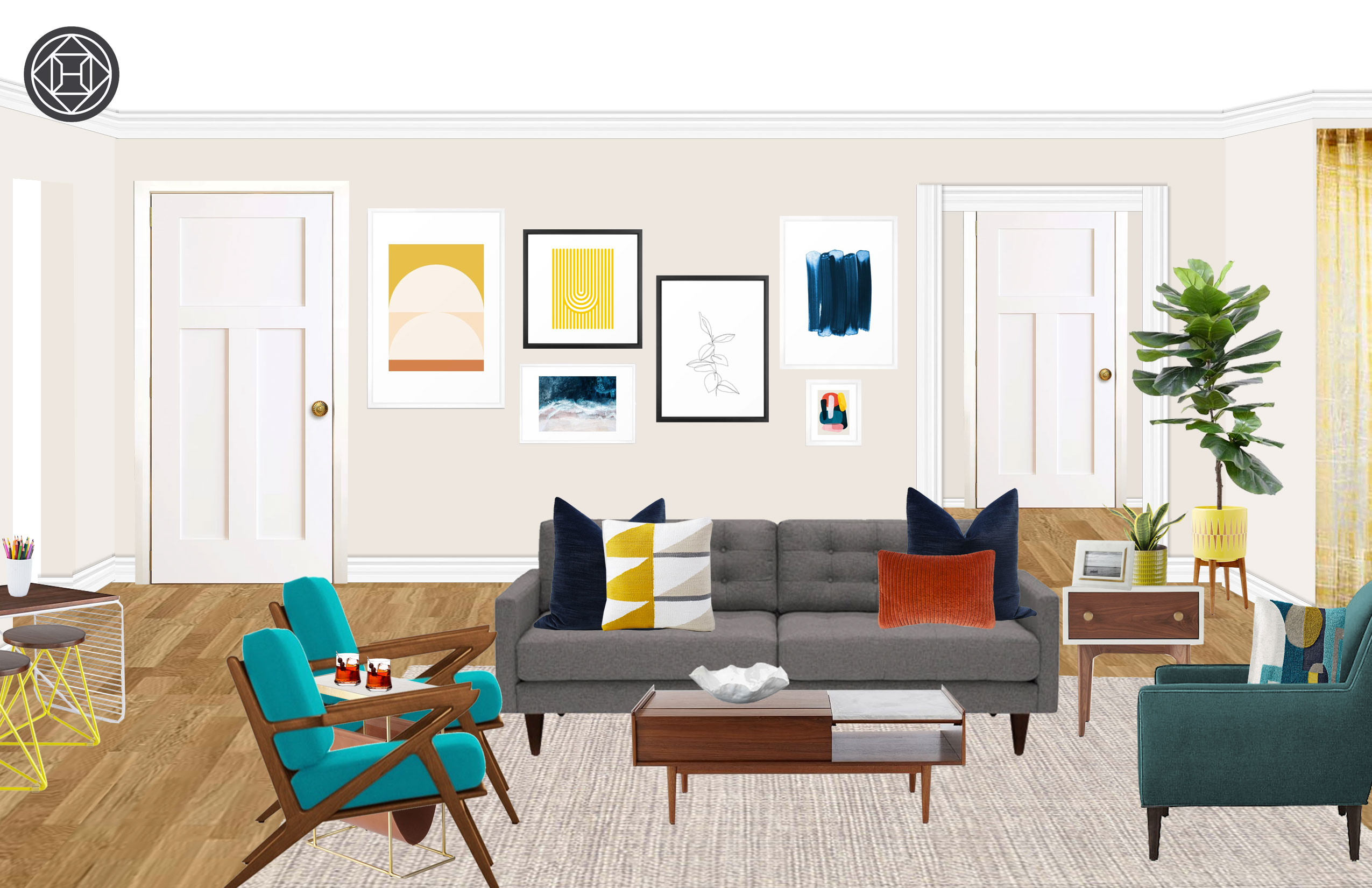 Astounding Eclectic Midcentury Modern Living Room Design By Havenly Caraccident5 Cool Chair Designs And Ideas Caraccident5Info