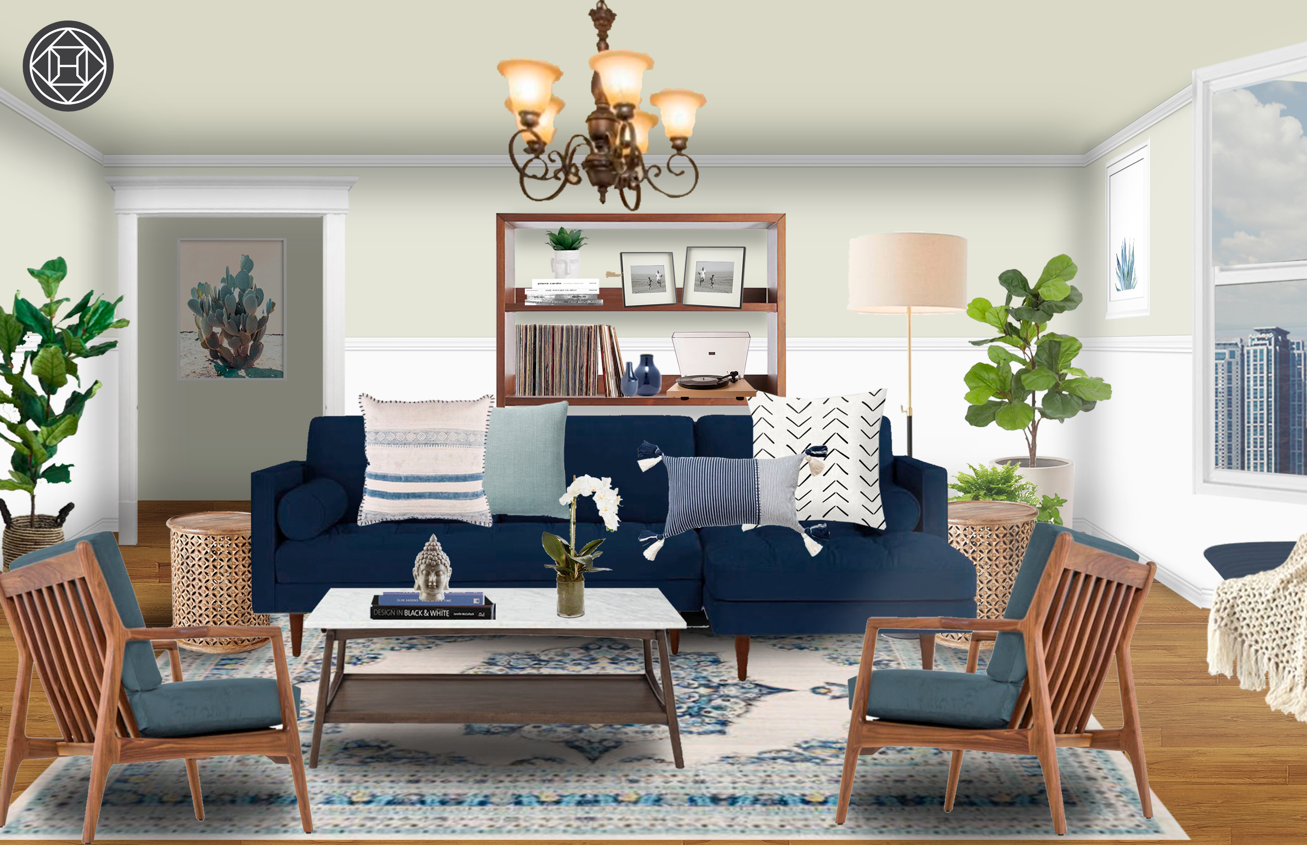 Bohemian, Midcentury Modern Living Room Design by Havenly ...