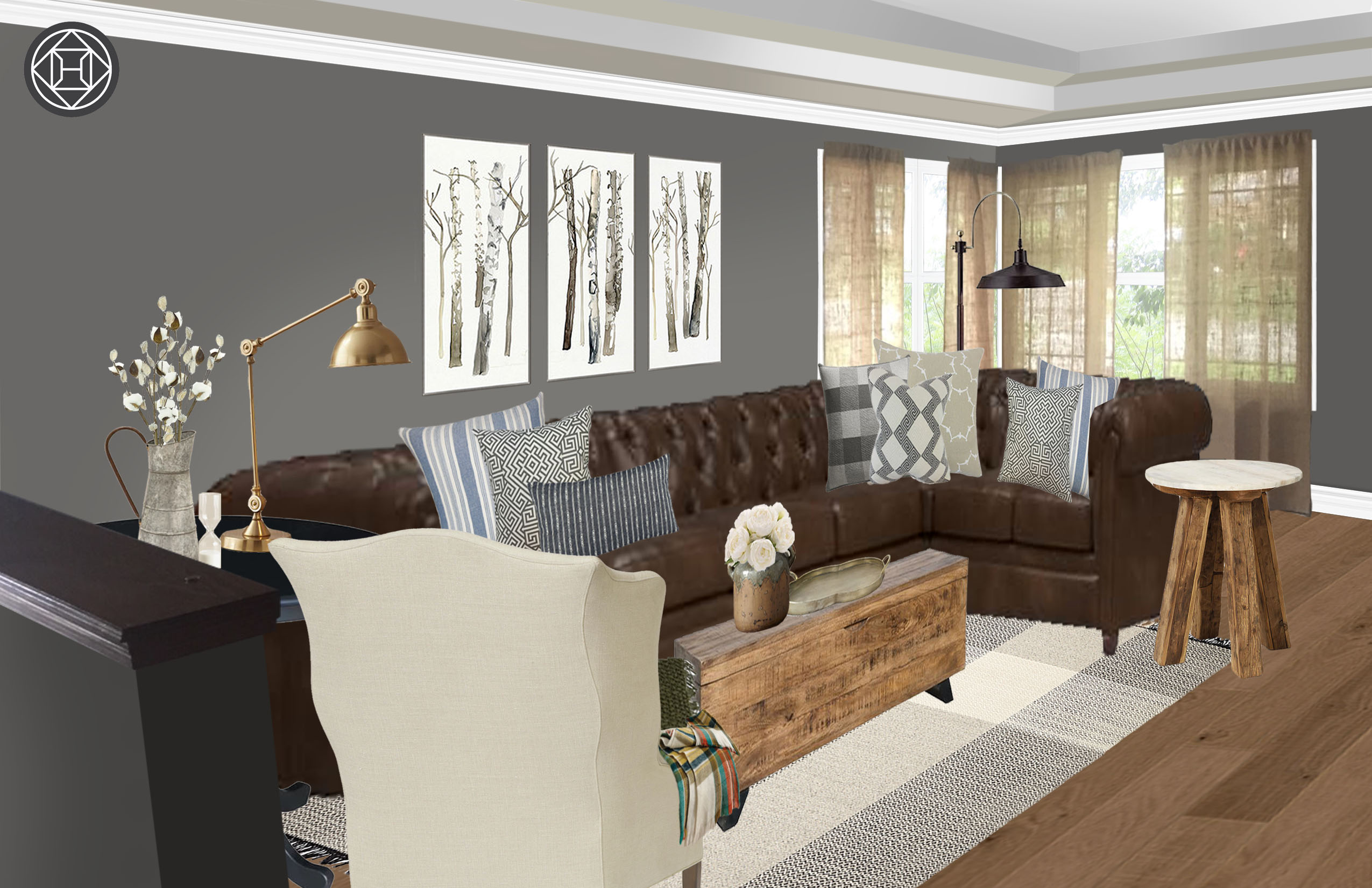Industrial Rustic Transitional Living Room Design By