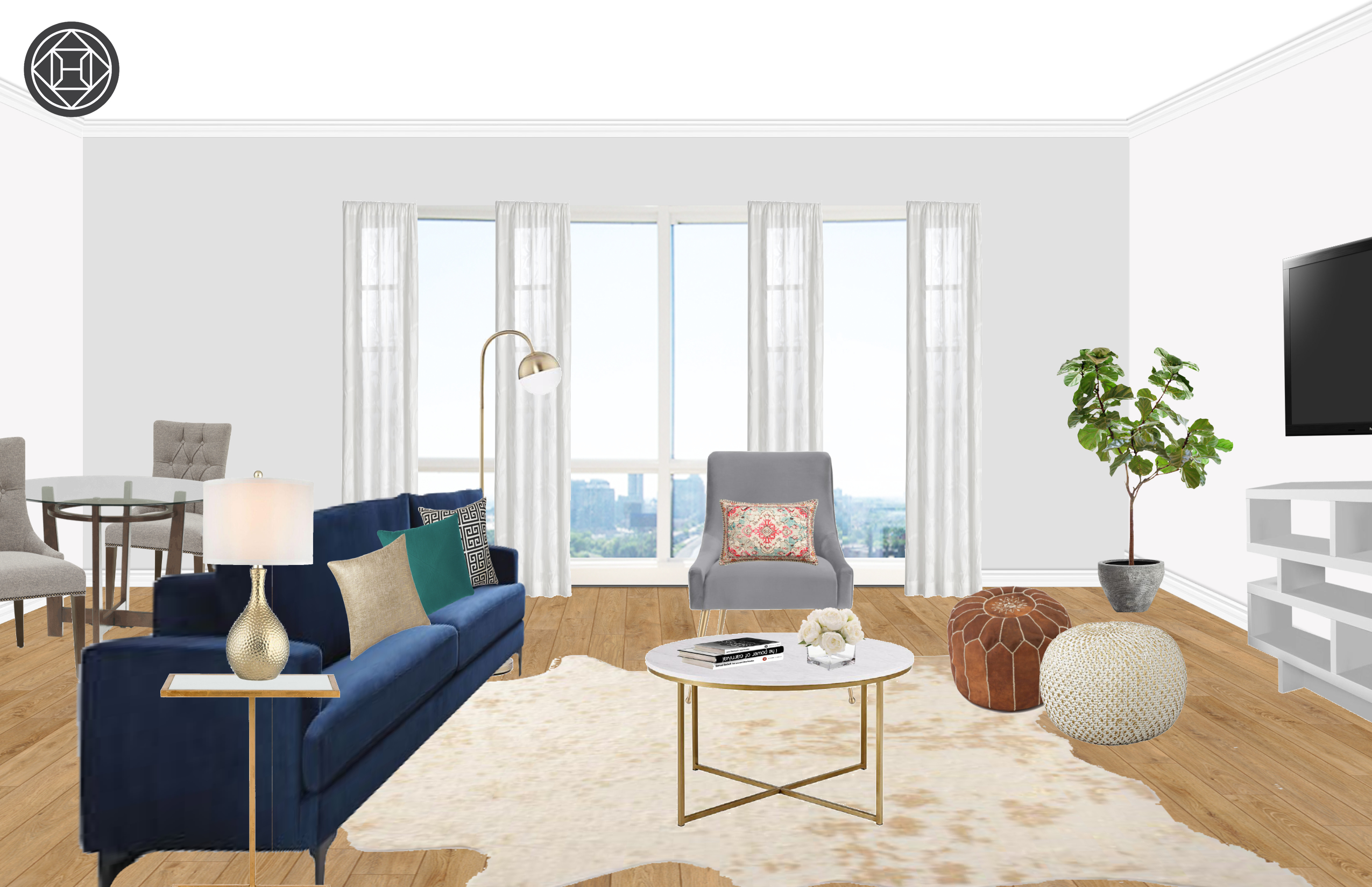 Enjoyable Modern Glam Living Room Design By Havenly Interior Designer Ibusinesslaw Wood Chair Design Ideas Ibusinesslaworg