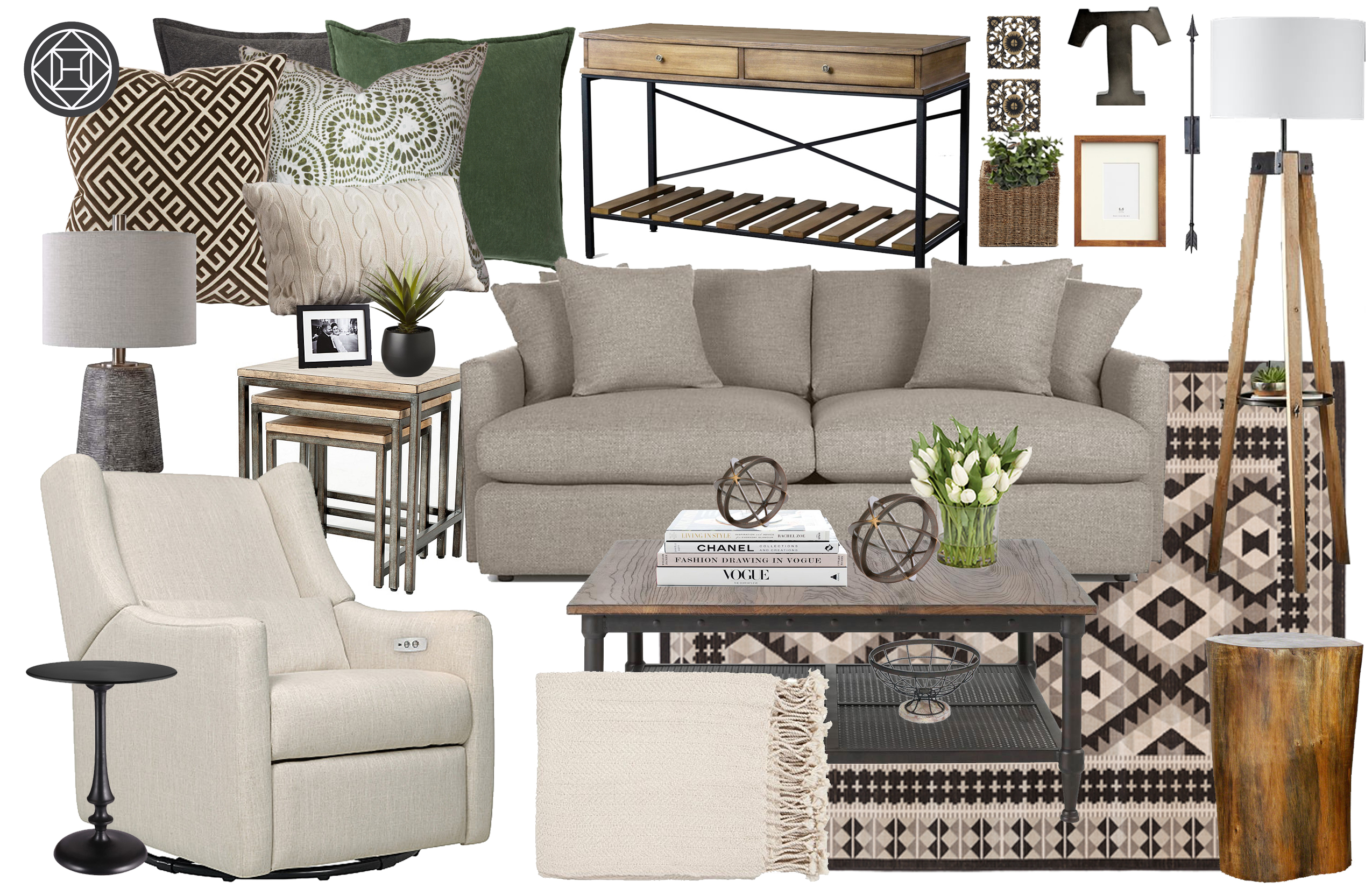 Contemporary Farmhouse Rustic Transitional Living Room