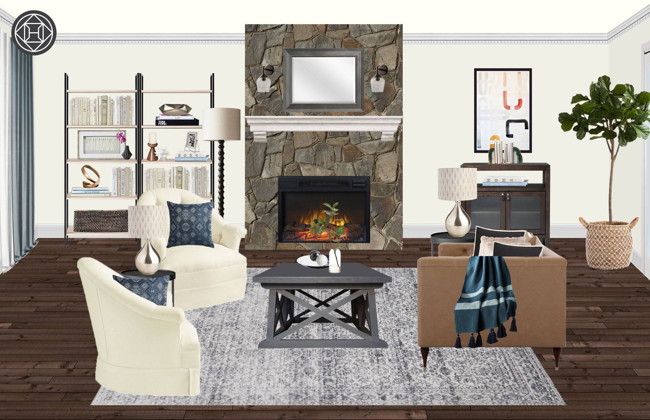 Classic Eclectic Traditional Transitional Living Room