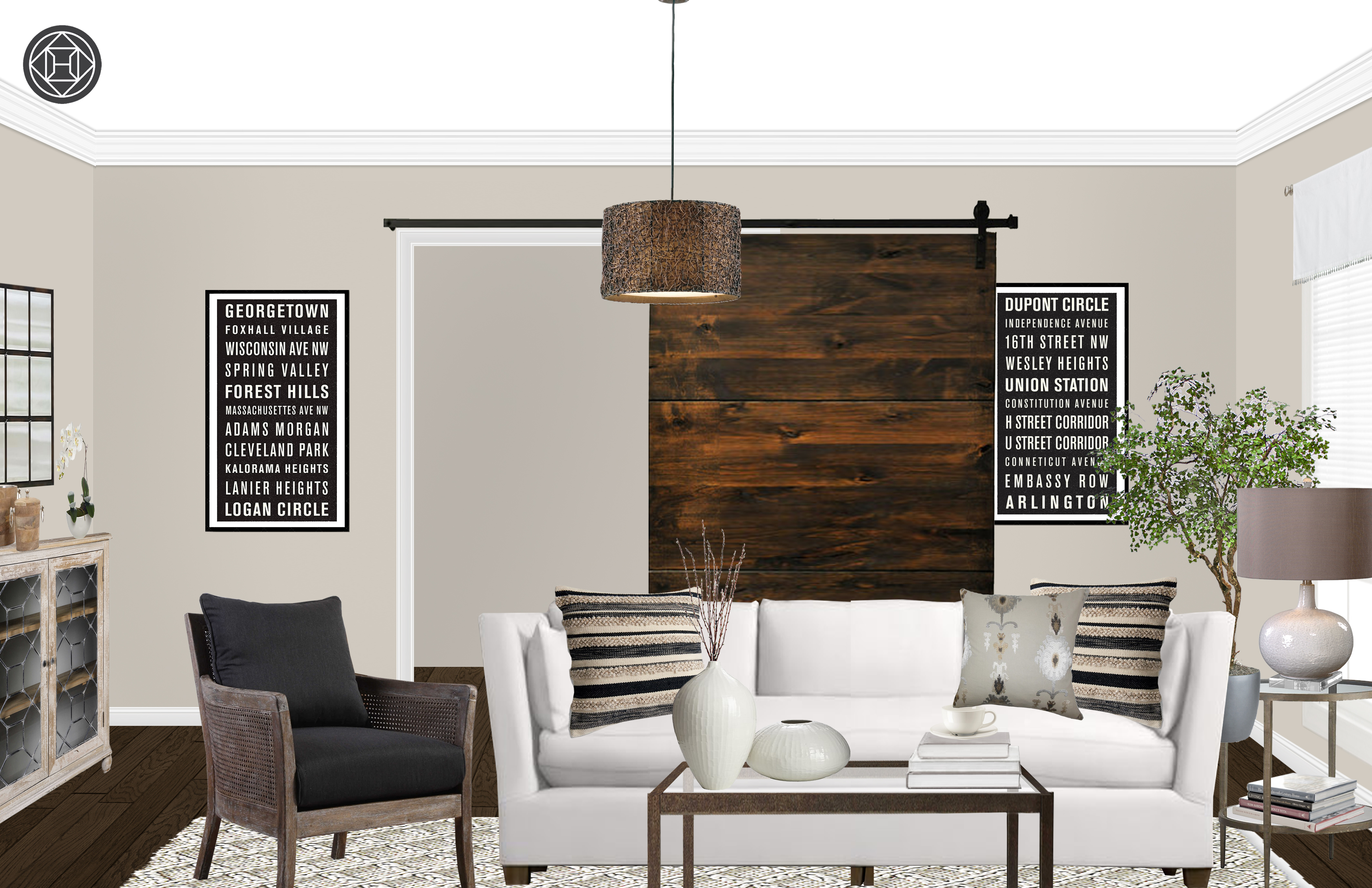 Rebecca Rustic Living Room In Contemporary Style