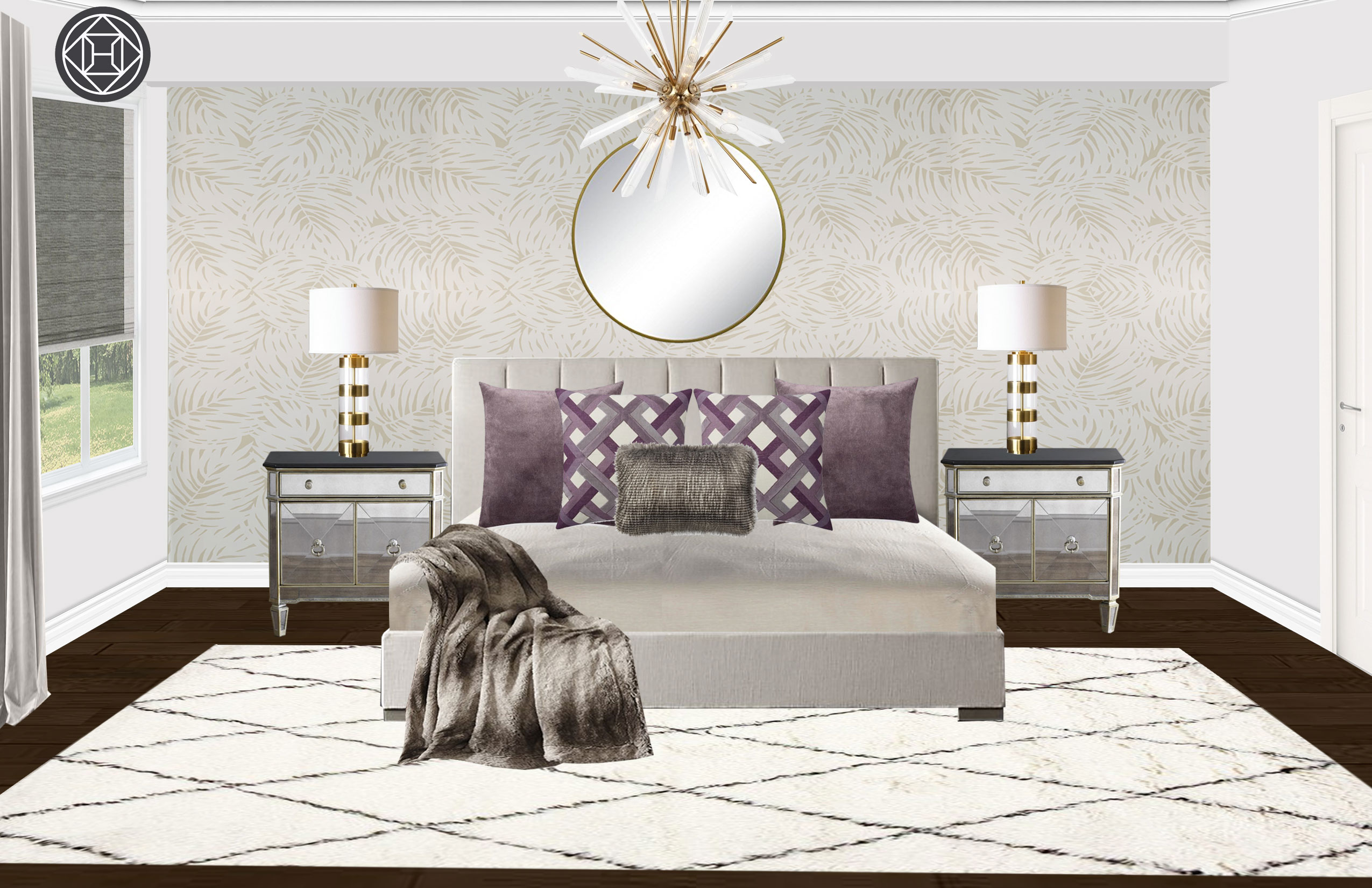 Contemporary Glam Transitional Bedroom Design By Havenly Interior
