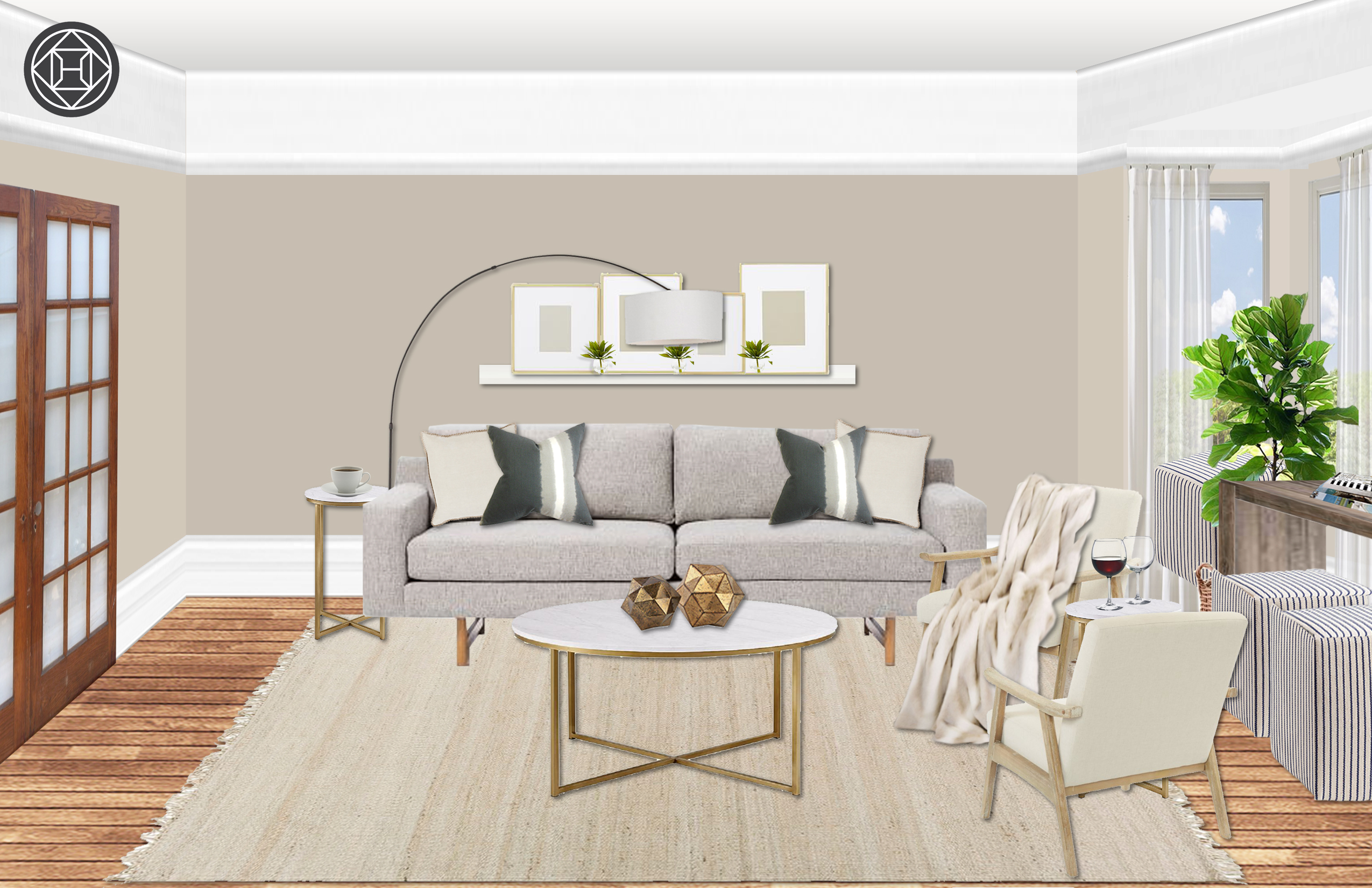 Eclectic Minimal Living Room Design By Havenly Interior