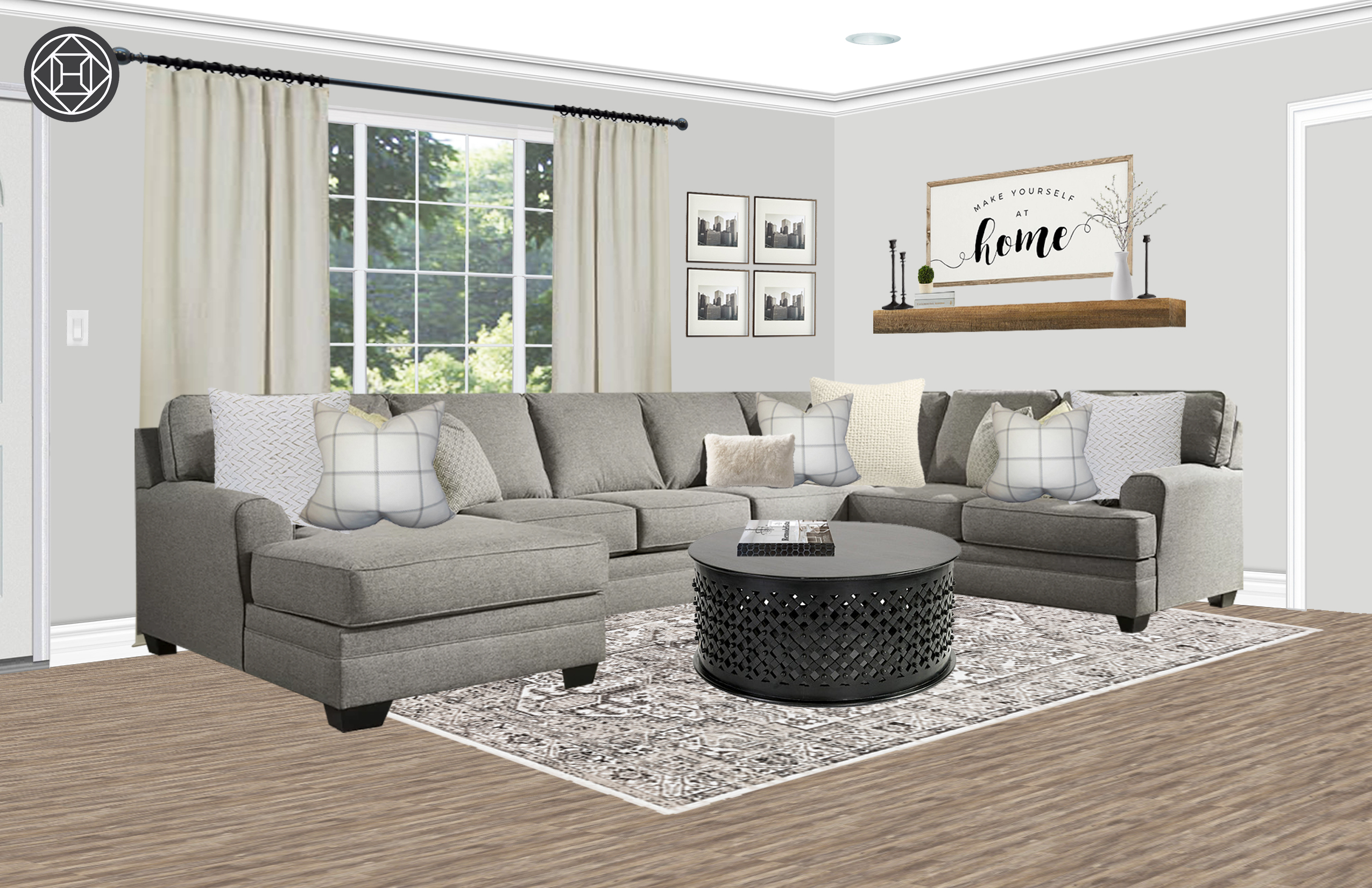 Classic Farmhouse Transitional Living Room Design By