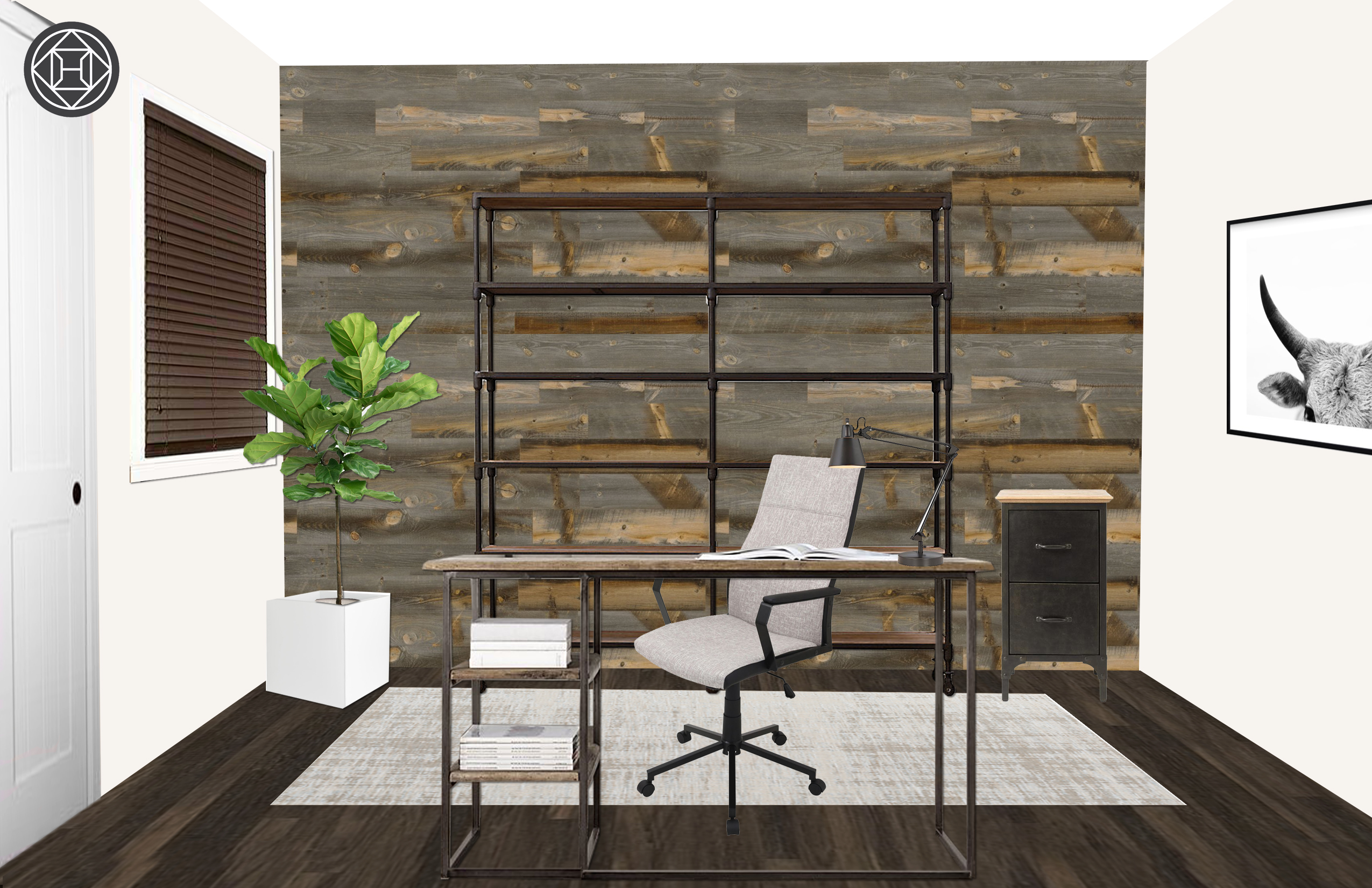 best authentic fd515 9df7b Modern, Industrial, Rustic Office Design by Havenly Interior ...