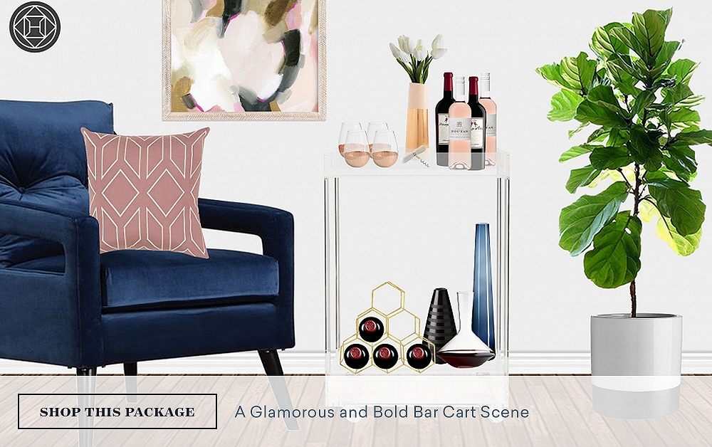 Bar Cart Styling: A Glamorous & Bold Bar Cart Scene