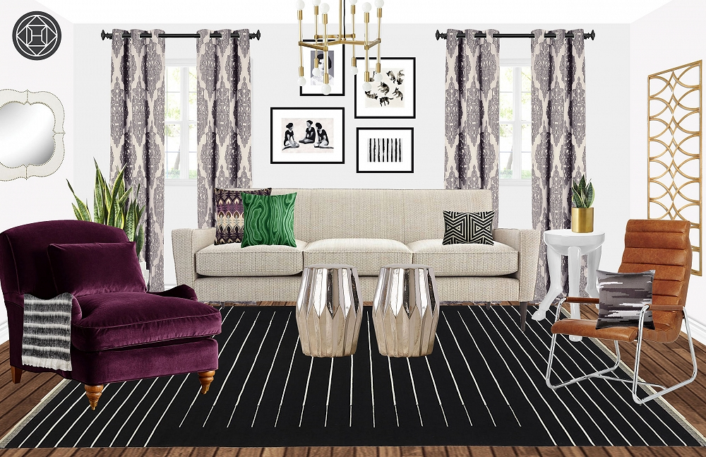 One Sofa Three Ways: Eclectic