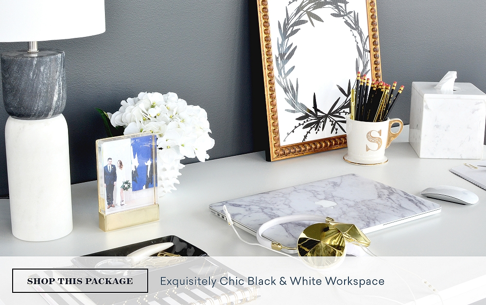Exquisitely Chic Black & White Workspace