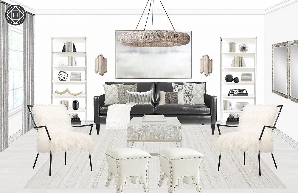 Fashion Week Home Inspiration:  A Rachel Zoe Glam Living Room