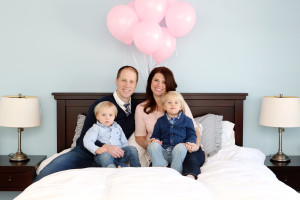 Meet Jen DeMarco pictured here with her husband Joe and their two children. Jen, along with Joe, is co-founder of Local Barre here in Hoboken