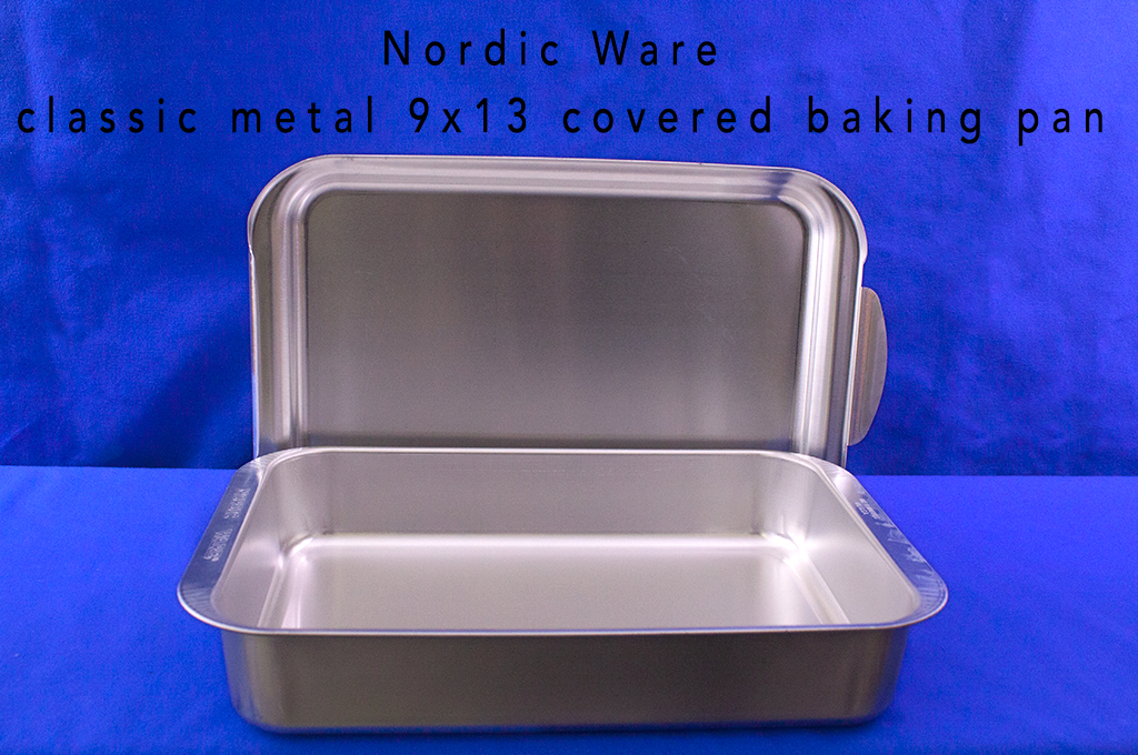 Nordic Ware classic metal 9x13 covered baking pan.