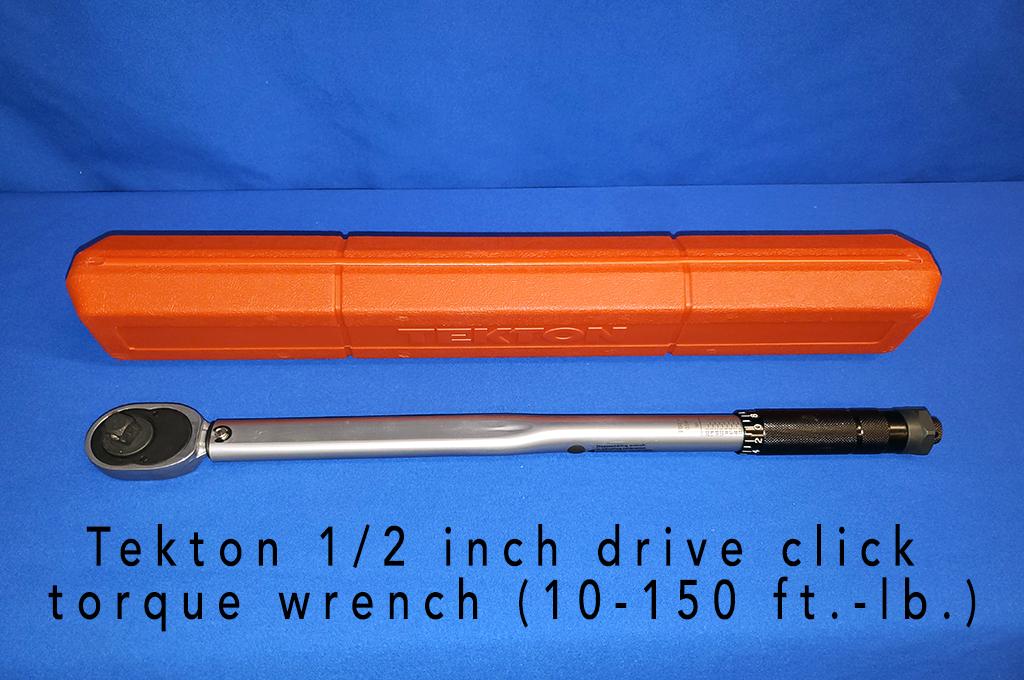 Tekton 1/2 inch drive click torque wrench (10-150 ft.-lb.).