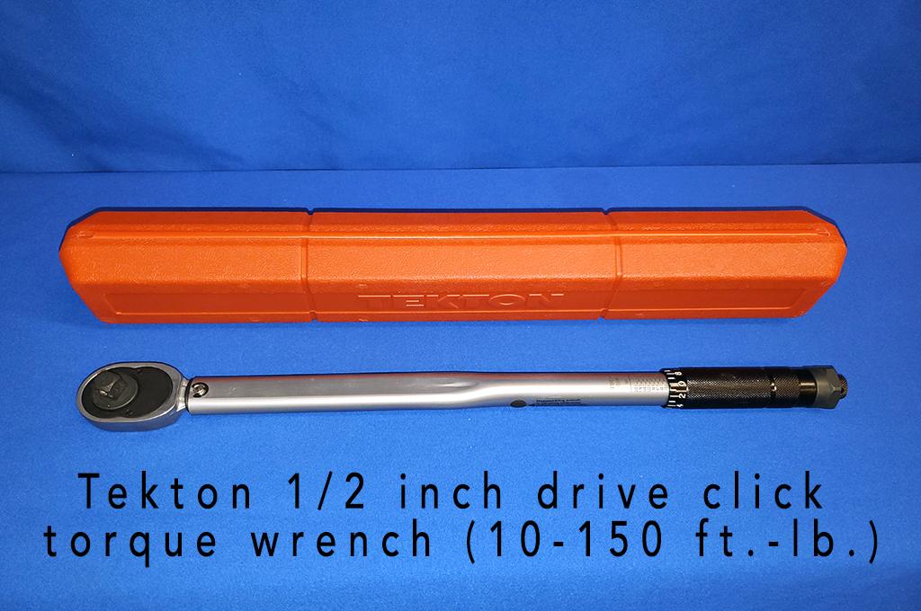 Tekton 1/2 inch drive click torque wrench (10-150 ft.-lb.).