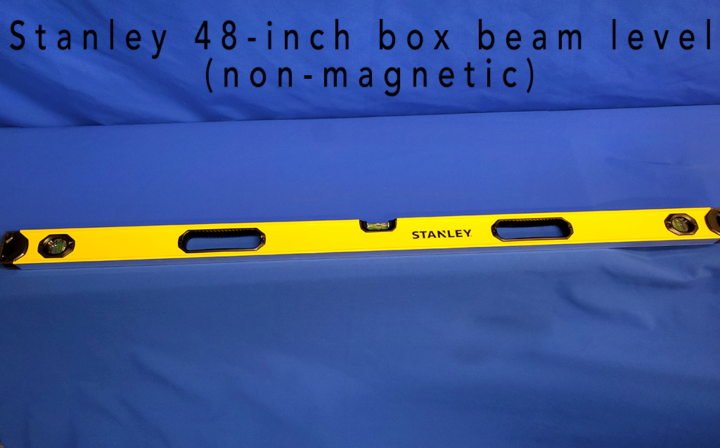 Stanley 48-inch box beam level (non-magnetic).