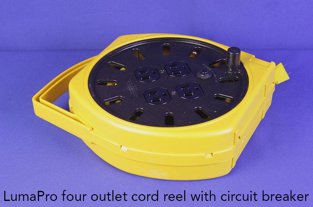 LumaPro four outlet cord reel with circuit breaker.