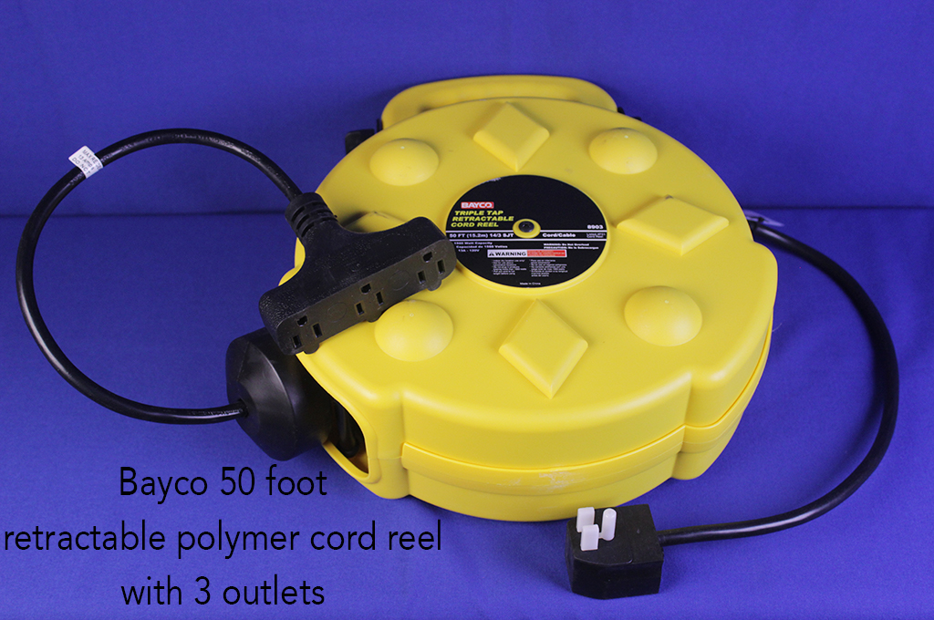 Bayco 50 foot retractable polymer cord reel with 3 outlets.