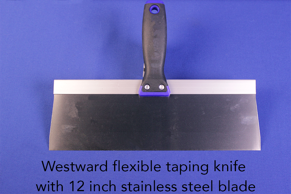 Westward flexible taping knife with 12 inch stainless steel blade.