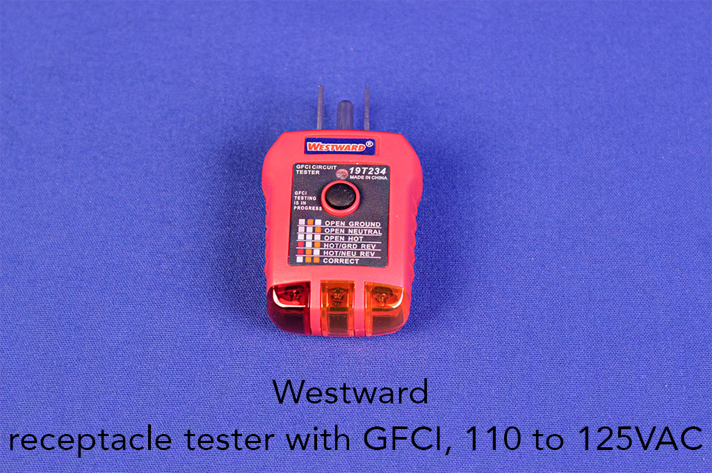 Westward receptacle tester with GFCI, 110 to 125VAC.