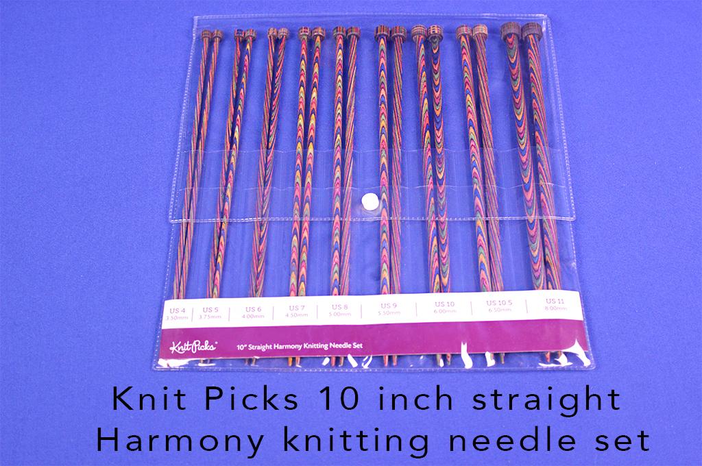 Knit Picks 10 inch straight Harmony knitting needle set.