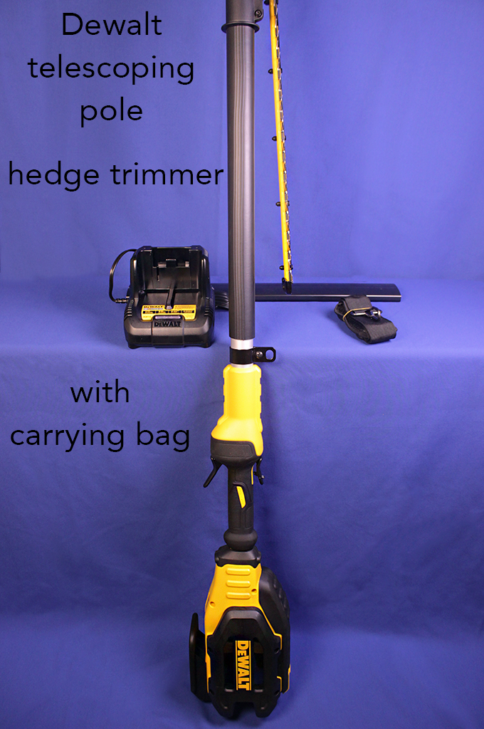 Dewalt telescoping pole hedge trimmer with carrying bag.