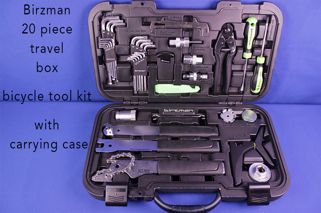 Birzman 20 piece travel box bicycle tool kit with carrying case.