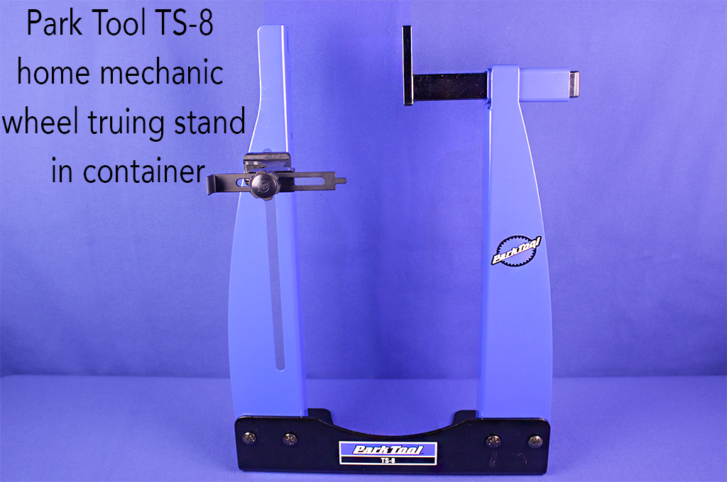 Park Tool TS-8 home mechanic wheel truing stand in container.