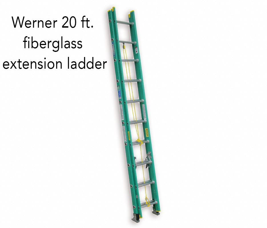 Werner 20 ft. fiberglass extension ladder.