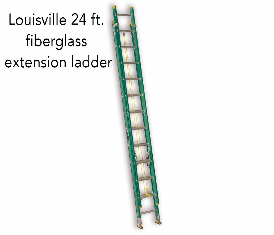 Louisville 24 ft. fiberglass extension ladder.