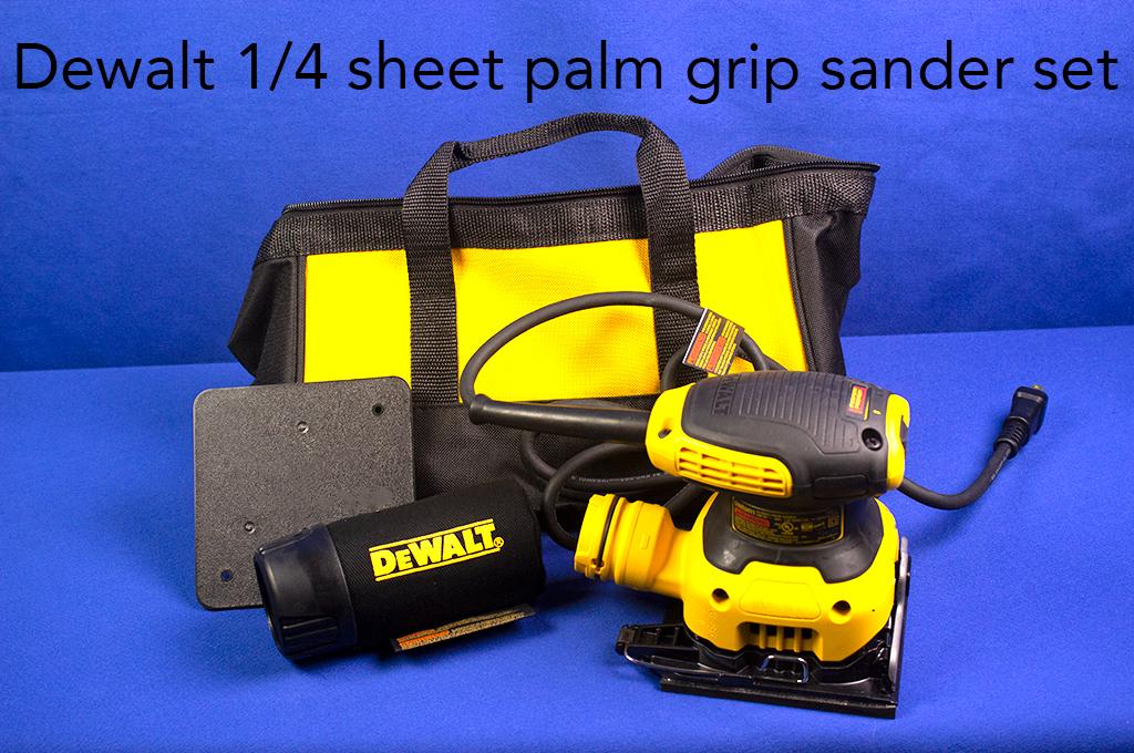 Dewalt 1/4 sheet palm grip sander set.