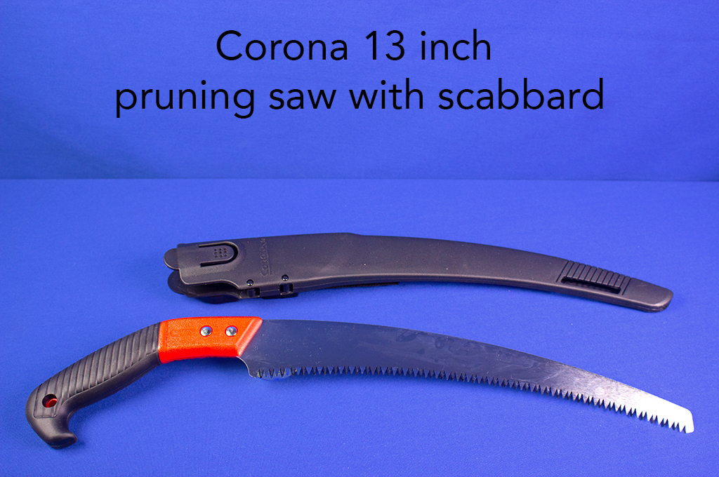 Corona 13 inch pruning saw with scabbard.