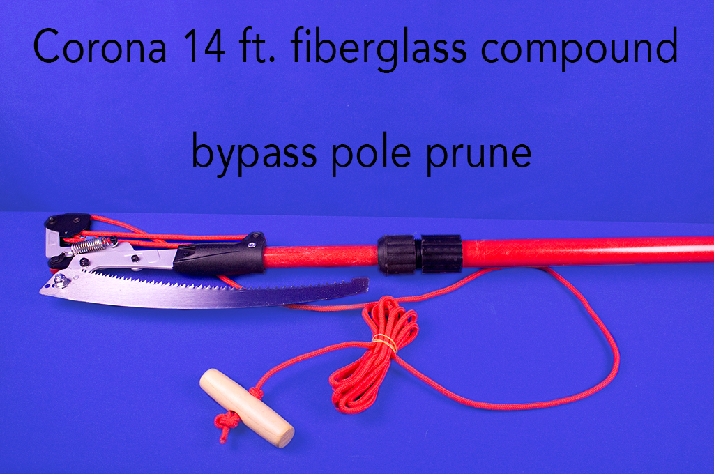 Corona 14 ft. fiberglass compound bypass pole pruner.