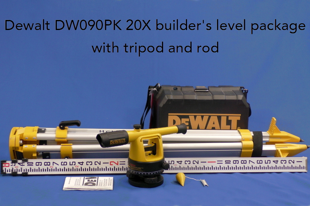Dewalt DW090PK 20X builder's level package with tripod and rod.