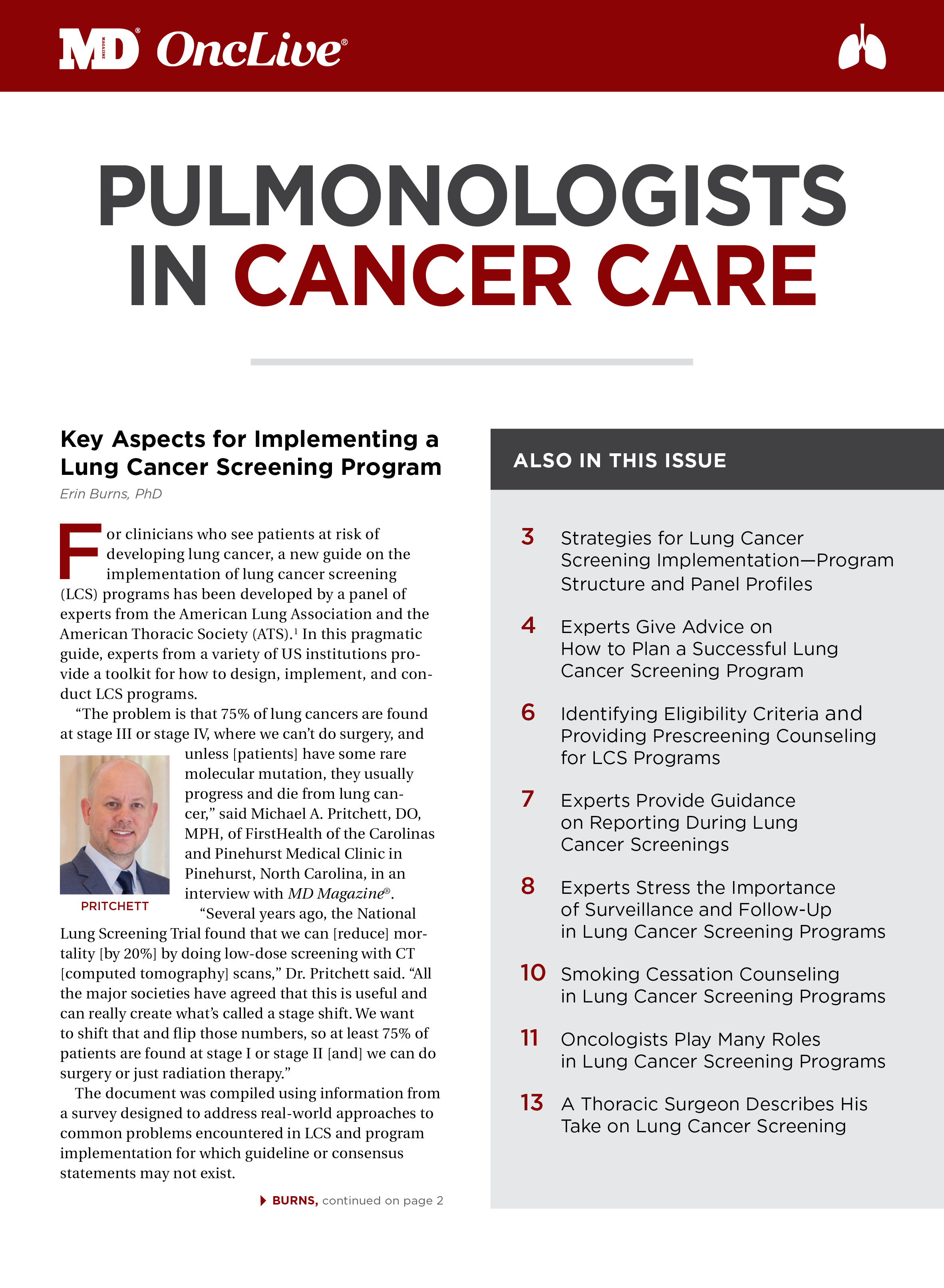 Pulmonologists in Cancer Care