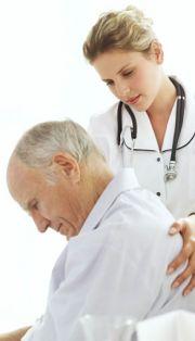 Parkinson's disease patient with doctor