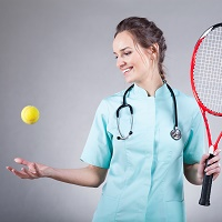 Doctor playing tennis