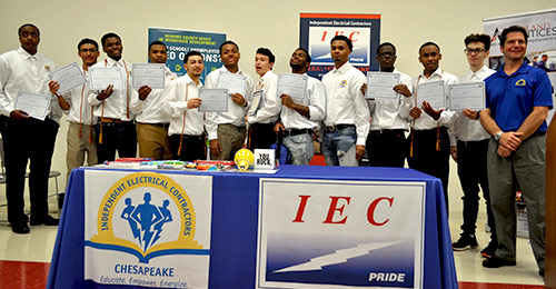 Student electricians posing for a group photo with certificates.